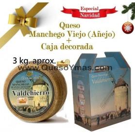 Queso Manchego Artesano Viejo (Añejo) 3Kg en caja