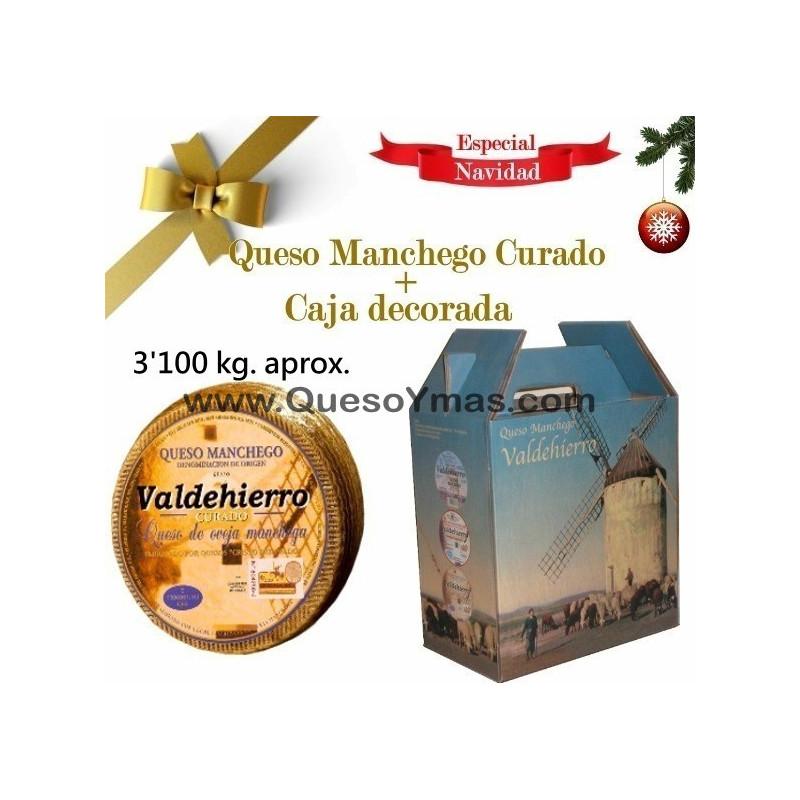 Queso Manchego Curado grande. (3,150 Kg. aprox.) en caja